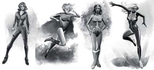 Heroine Sketches by kazelgreen