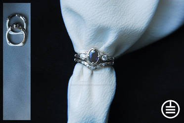 White Gold Blue Sapphire Diamond Engagement and W
