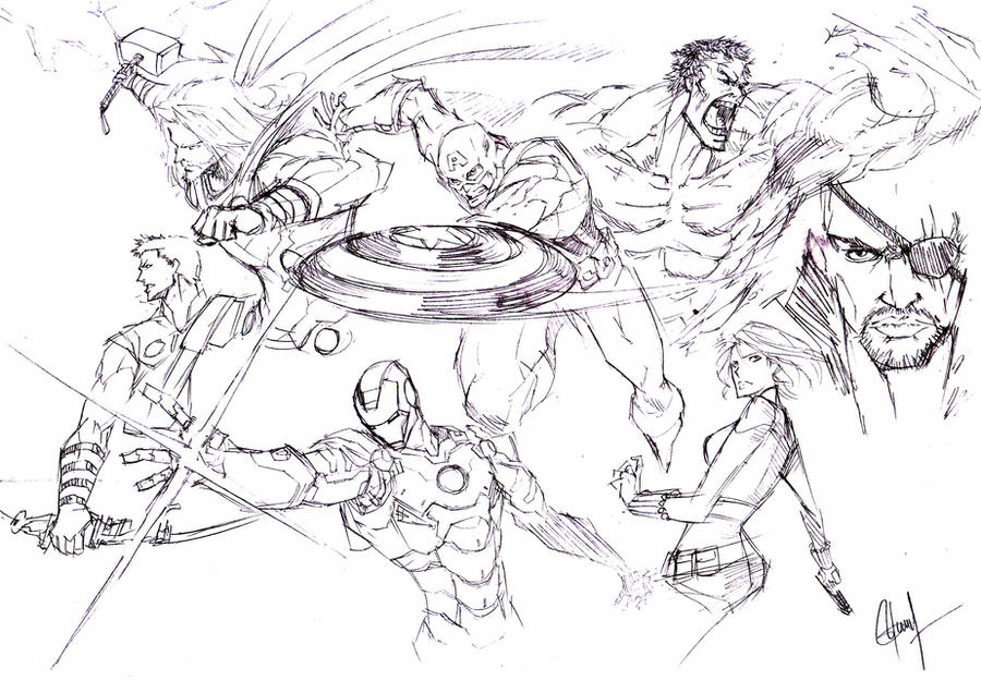 The Avengers -quick sketch- by the-hary