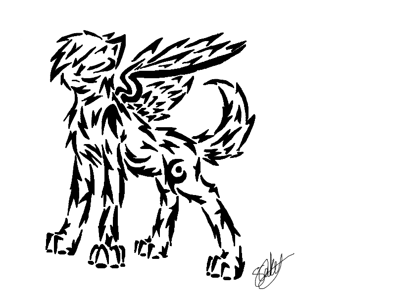 Tribal Winged Wolf 1 by MidnightShadow88 on DeviantArt