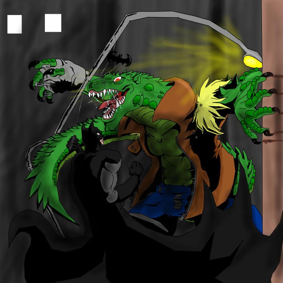 Batman vs. Killer Croc by Skyegojira
