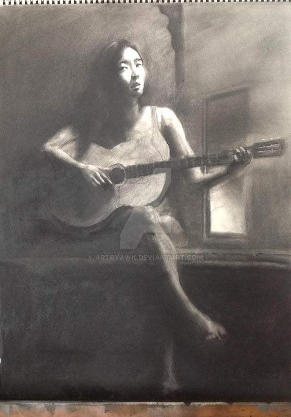 MIDNIGHT MELODY-18x24 Charcoal