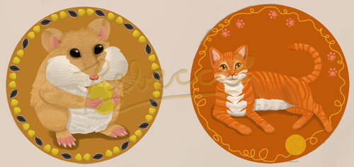 Finished cat and hamster badges or stickers by CorgiFoxi