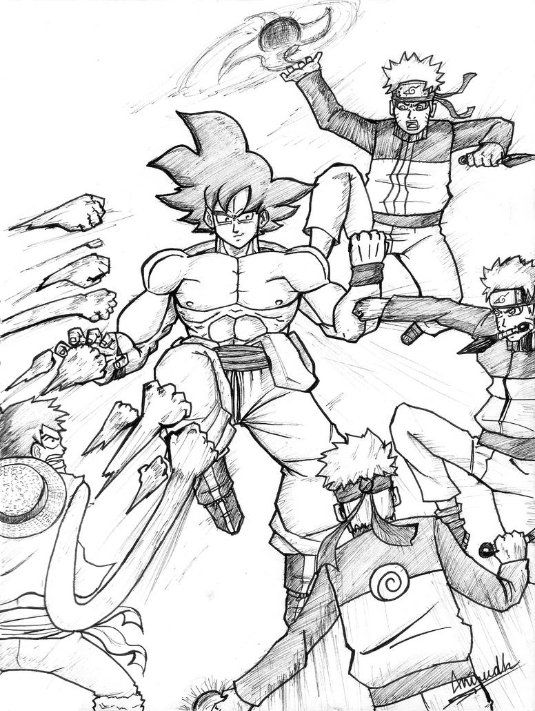 The Characters Of Dragon Ball Z Coloring Pages All In Show
