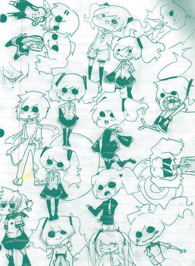 Miku doodles by SeiSeichan