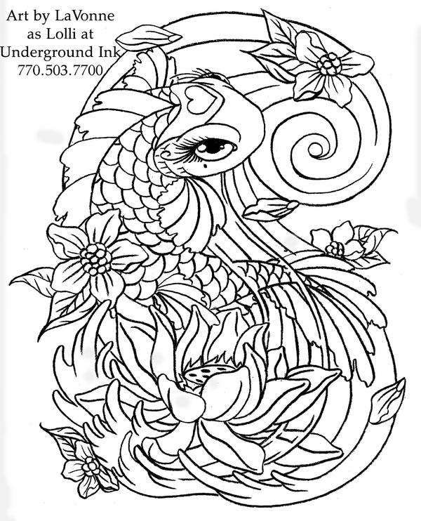 Girly koi cb and lotus linwork by lavonne on deviantart for Girly coloring pages