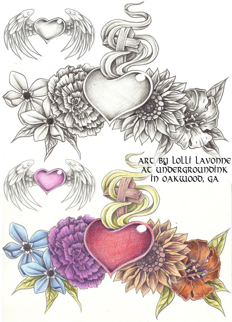 sacred heart with flowers by lavonne on deviantart. Black Bedroom Furniture Sets. Home Design Ideas