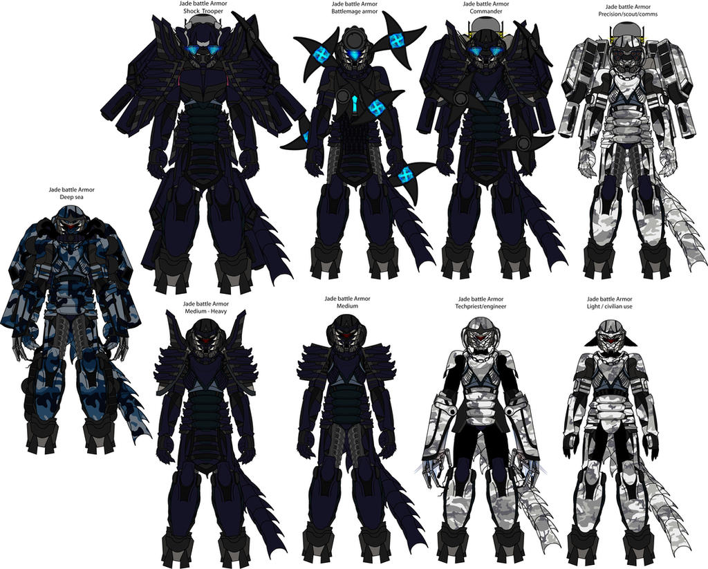 Halcyon Jademetal armor variants by madcomm