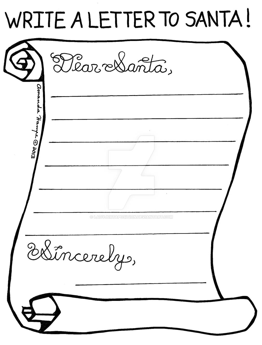 This is a picture of Rare letter to santa coloring page