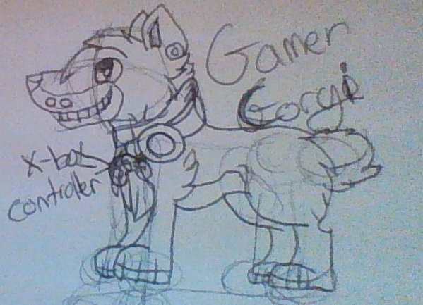 gamer corgi by meowien