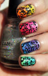 Colorful Leopard Print Mani