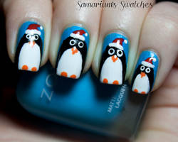 Festive holiday Penguin nail art by SamariumsSwatches