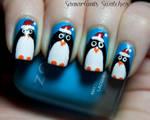 Festive holiday Penguin nail art