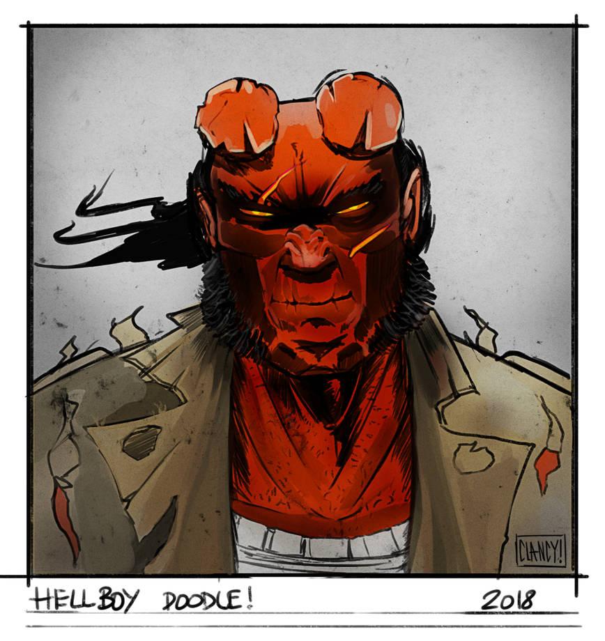 Hellboy doodle by C-CLANCY