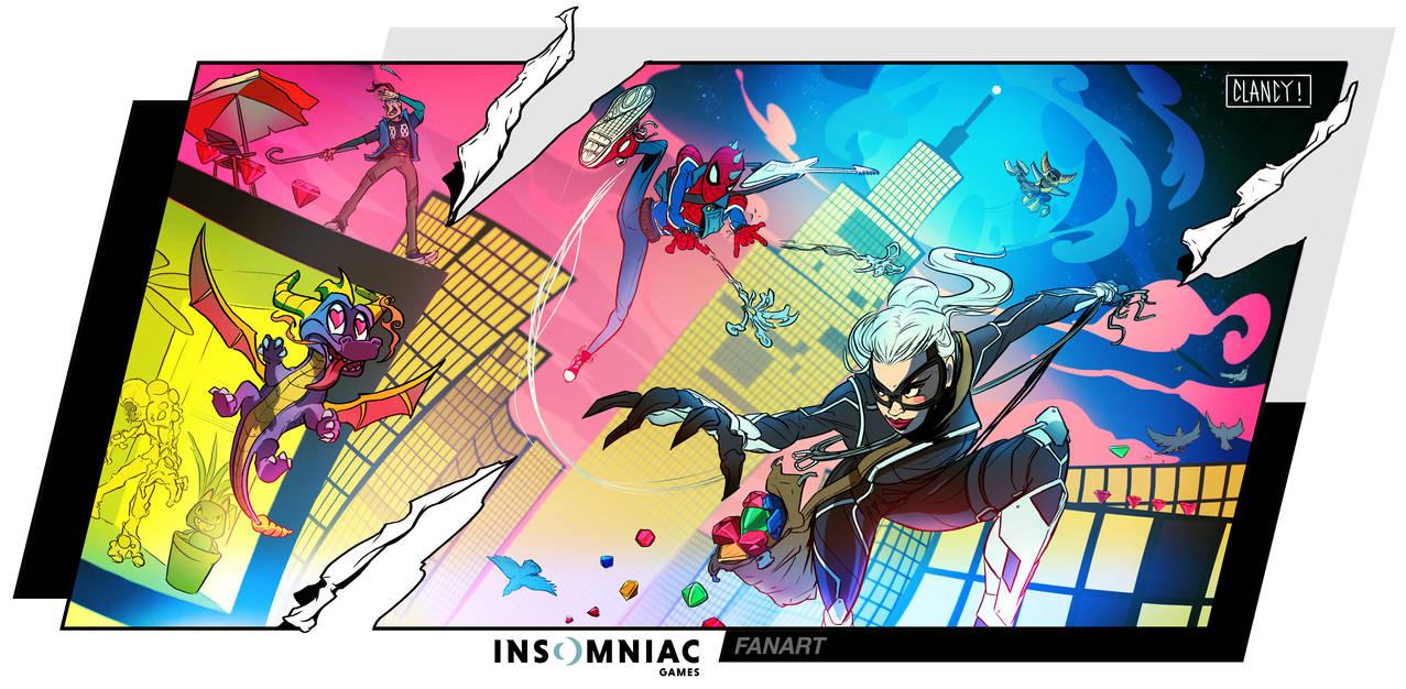 Insomniac fanart - spiderman black cat DLC by C-CLANCY