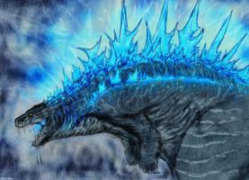 Quick Godzilla Sketch by Quinn-Red