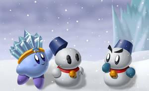 Ice Kirby Makes a Snowman