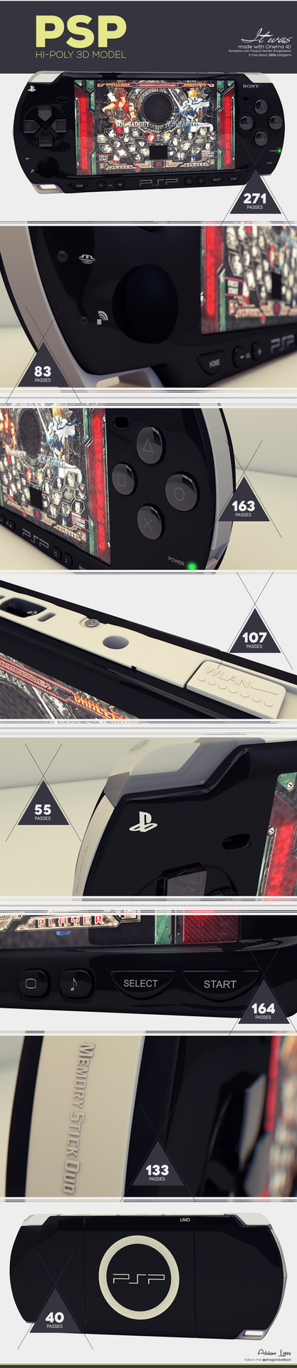 PSP 3D model by dragonballson