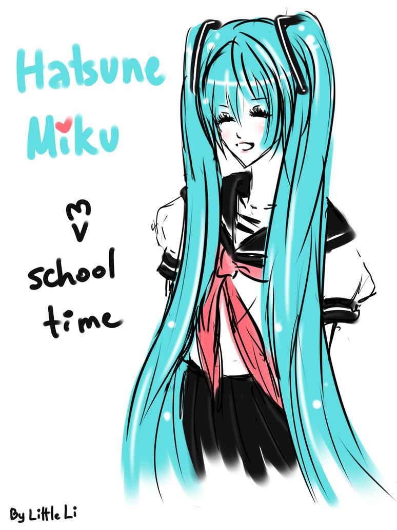 miku hatsune in school uniform by 1itt1e-1i