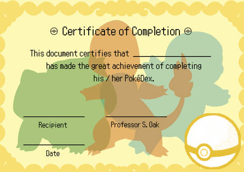 Pokemon Diploma / Certificate