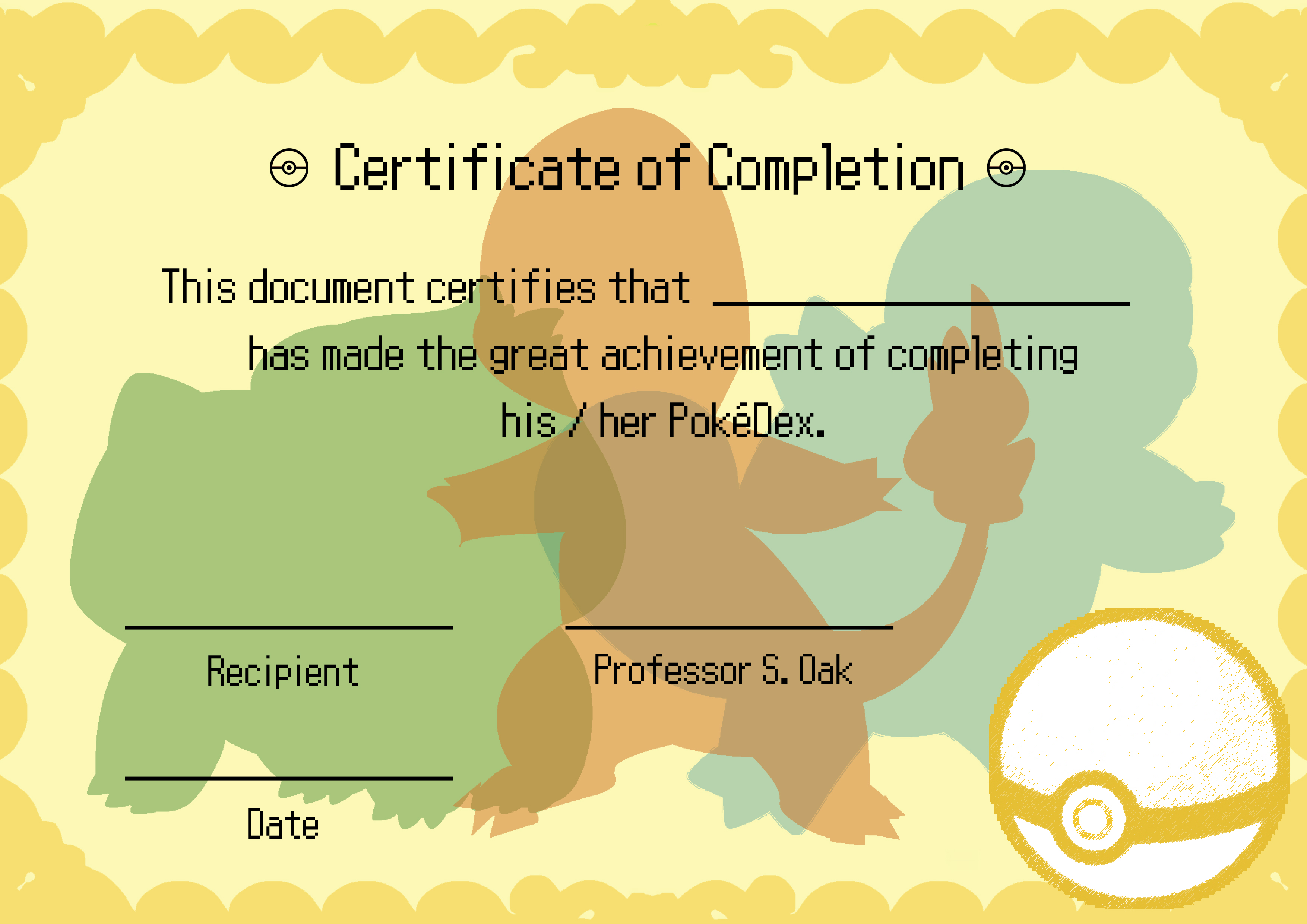 Pokemon Diploma / Certificate by OliverGeary on DeviantArt