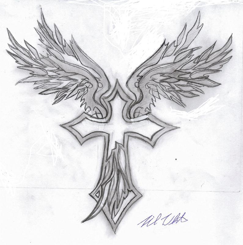 Tribal Wings + cross by mullen1200 on DeviantArt