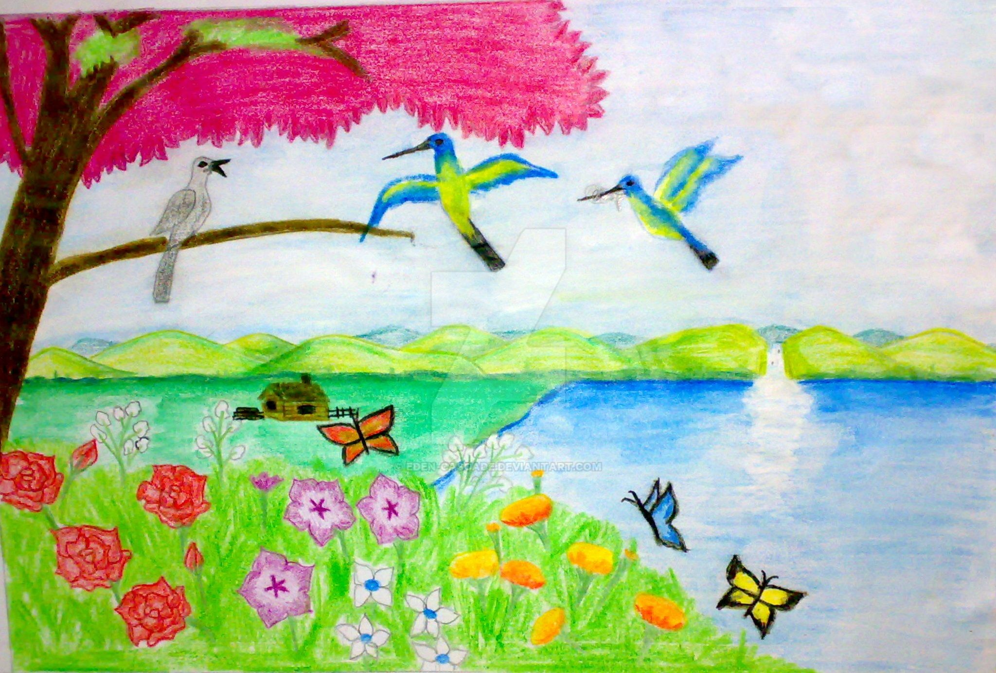 Spring season by eden cascade on deviantart for Easy spring pictures to draw