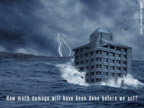 Una grandissima tsunami su Suva (immagine di Animagic Fiji)