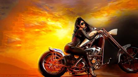 Biker Babe Hot V 2 Wallpaper by kpietersen