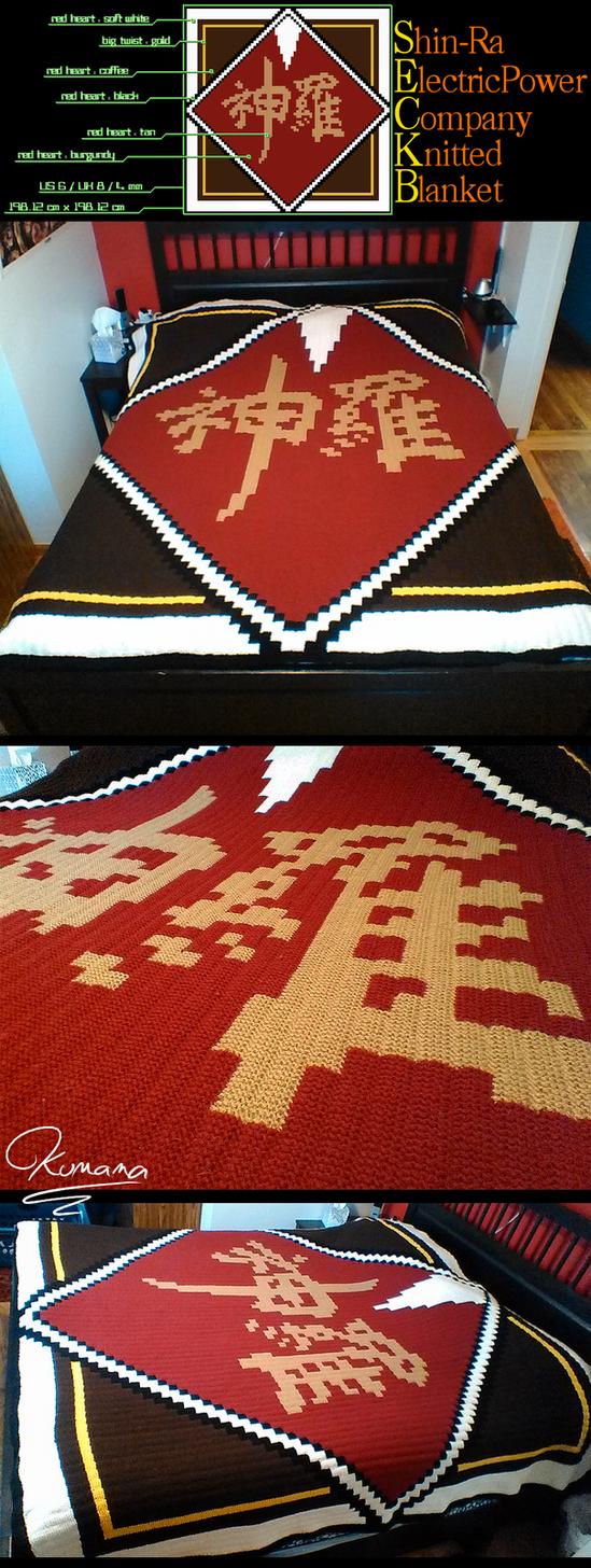 Knitting: Shin-Ra Electric Power Company Blanket by Kumama