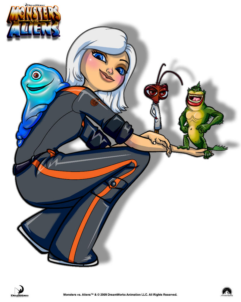 monsters vs aliens coloring by jasminealexandra
