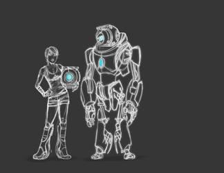 Portal's Chell+Wheatley 'Sketch Ideas by JasmineAlexandra