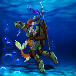 Donatello+April 'Ninja Sea Turtle Love by JasmineAlexandra