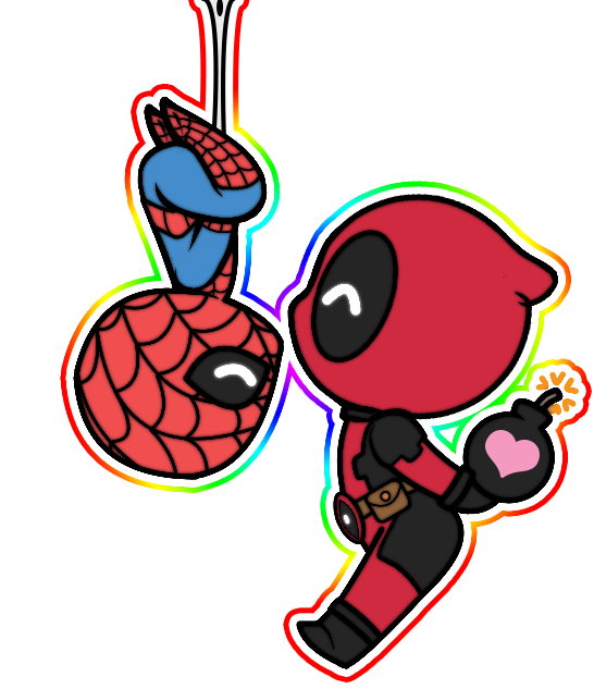 kissing chibi spideypool by jasminealexandra on deviantart