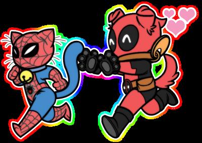 SpideyPool Spider-Kitty and Doggypool by JasmineAlexandra