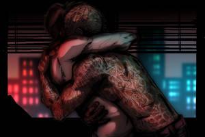 Spideypool's Neon Night by JasmineAlexandra