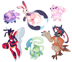 Sketched Poke'hybrid OC Commissions - batch 17