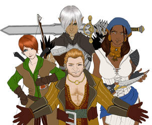 Three Rogues and a Broody Elf by ekocentric