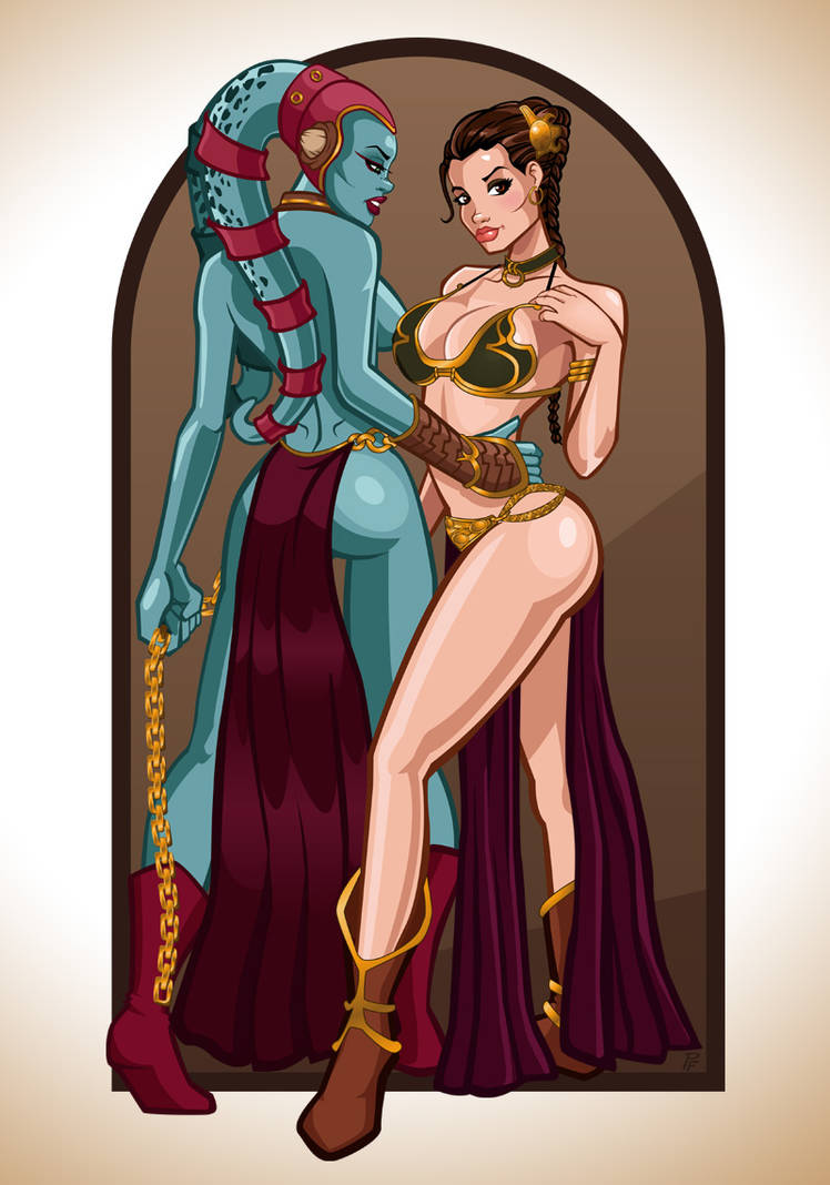 Slave Leia and Aayla Secura by PatrickFinch