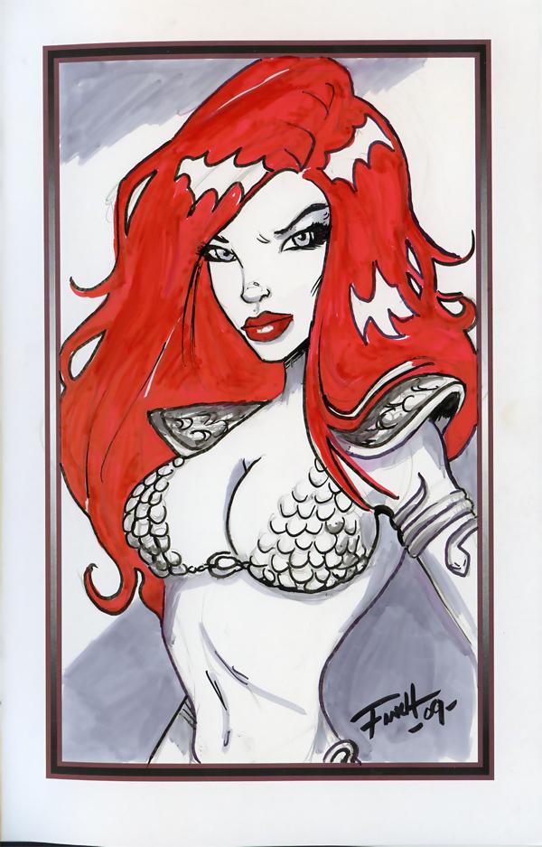 Free Sketch Red Sonja by PatrickFinch