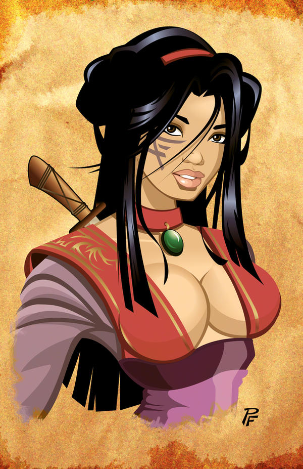 Asian Warrior Bust Print by PatrickFinch