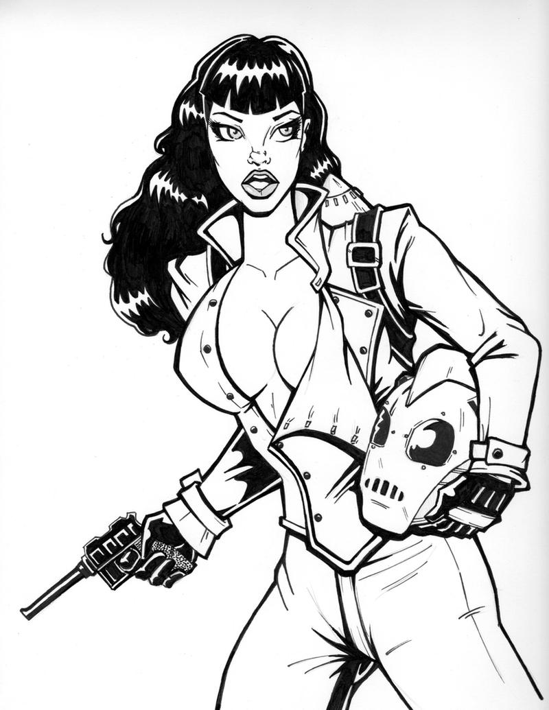 Bettie Page as the Rocketeer by PatrickFinch