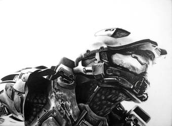Master Chief Pencil Portrait by TricepTerry