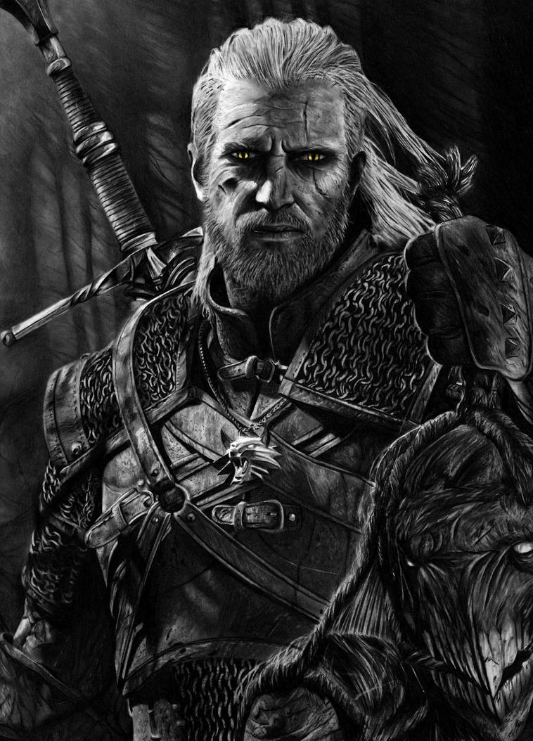 Geralt - The Witcher 3 Pencil Portrait by Names76