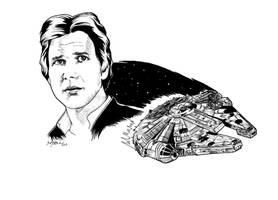 Han Solo Falcon (Ink) by barbaramj