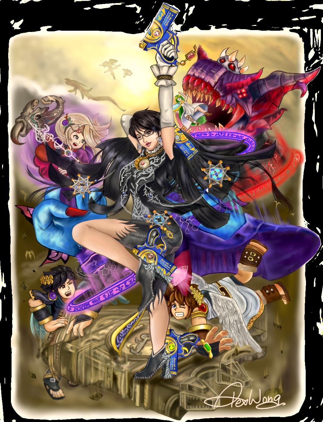 Bayonetta Crushing the Angels by kwokshing0905