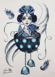 Rosa blu e uccello azzurro