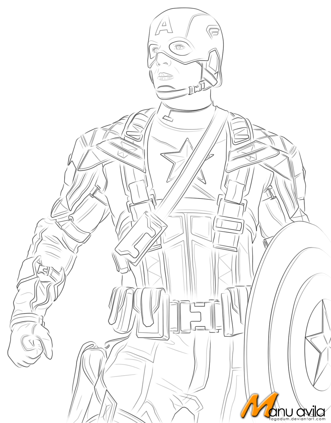 Line Drawing Usa : Captain america lineart by tagadum on deviantart