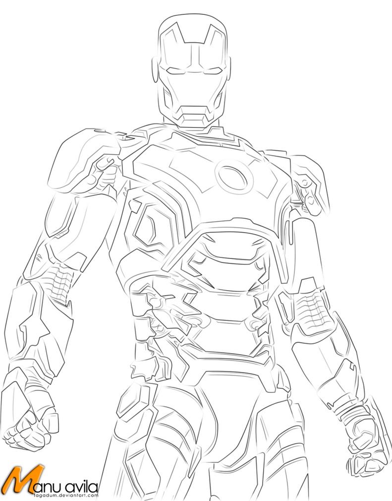 iron man mark 42 line art by tagadum on deviantart