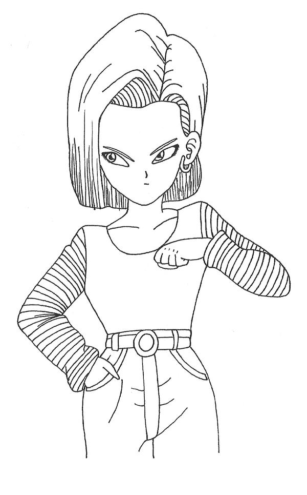 android 18 by goude lineart on DeviantArt